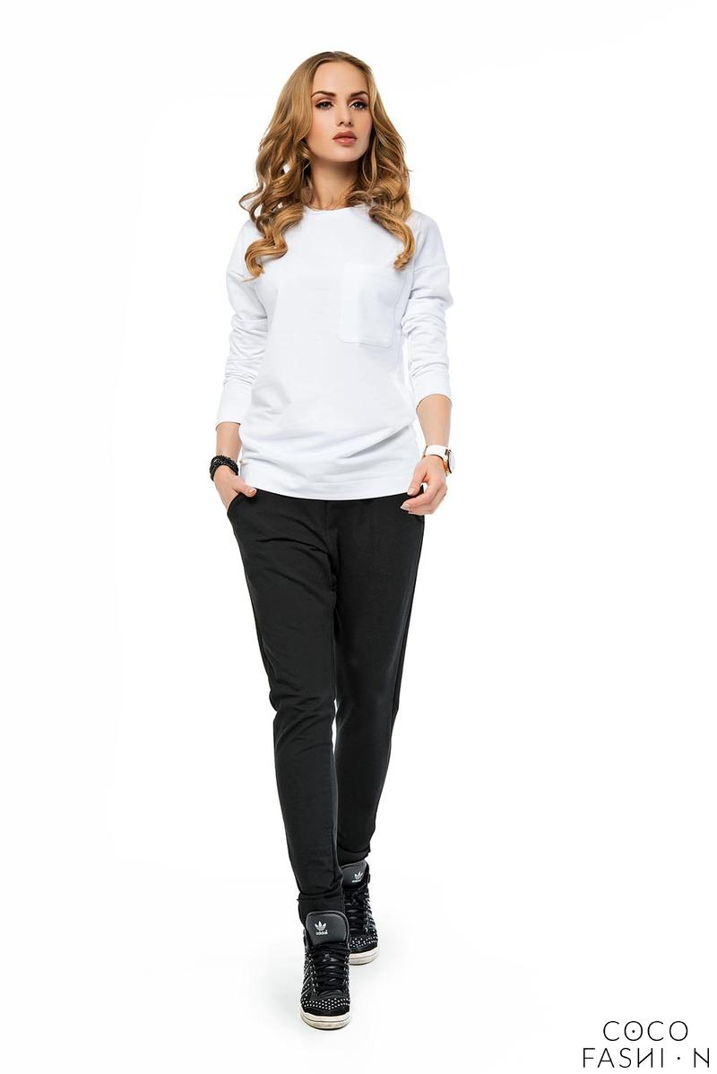 White Plain Classic Long Sleeved Blouse with Pocket