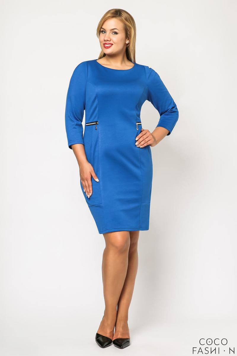 Blue Classic 3/4 Sleeves Dress with Zips PLUS SIZE