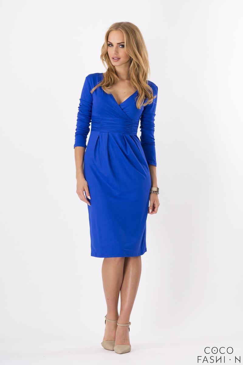 light-blue-elegant-v-neck-dress