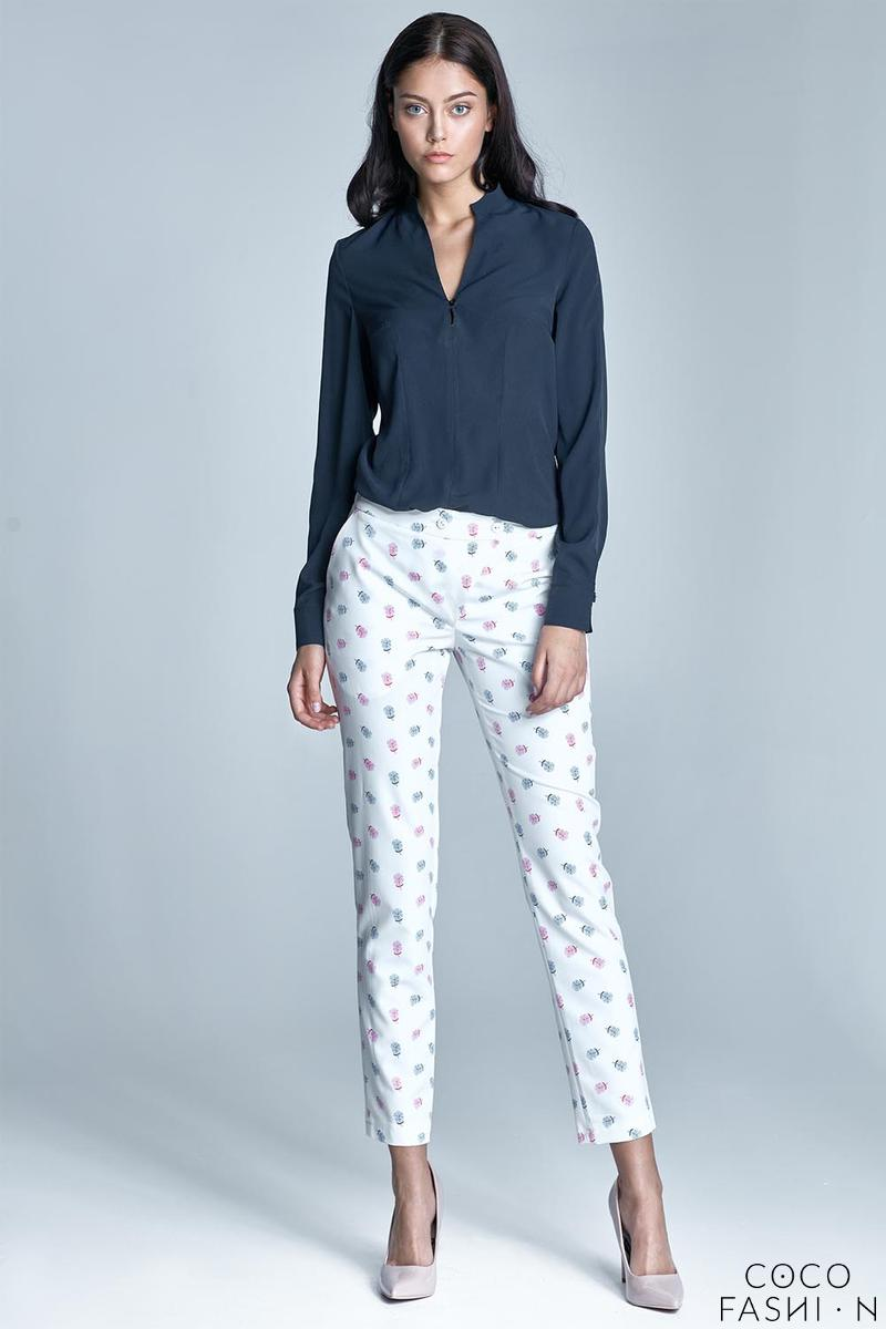 Ecru&Pink Office Style Cigarette Trousers