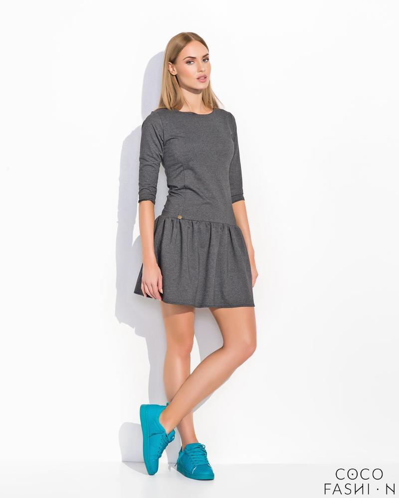 Dark Grey Low Waist Light Pleats Girlish Dress