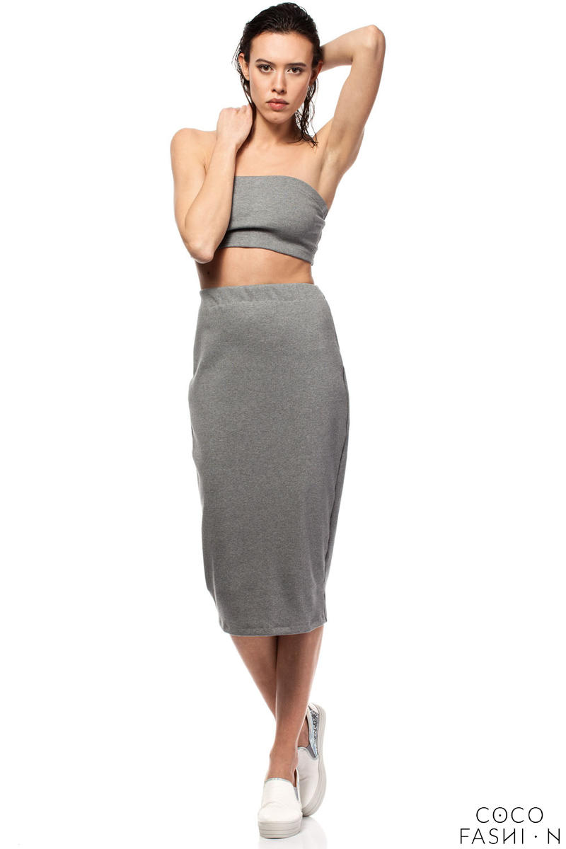 Grey Midi Pencil Skirt with Decorative Back Zipper Fastening