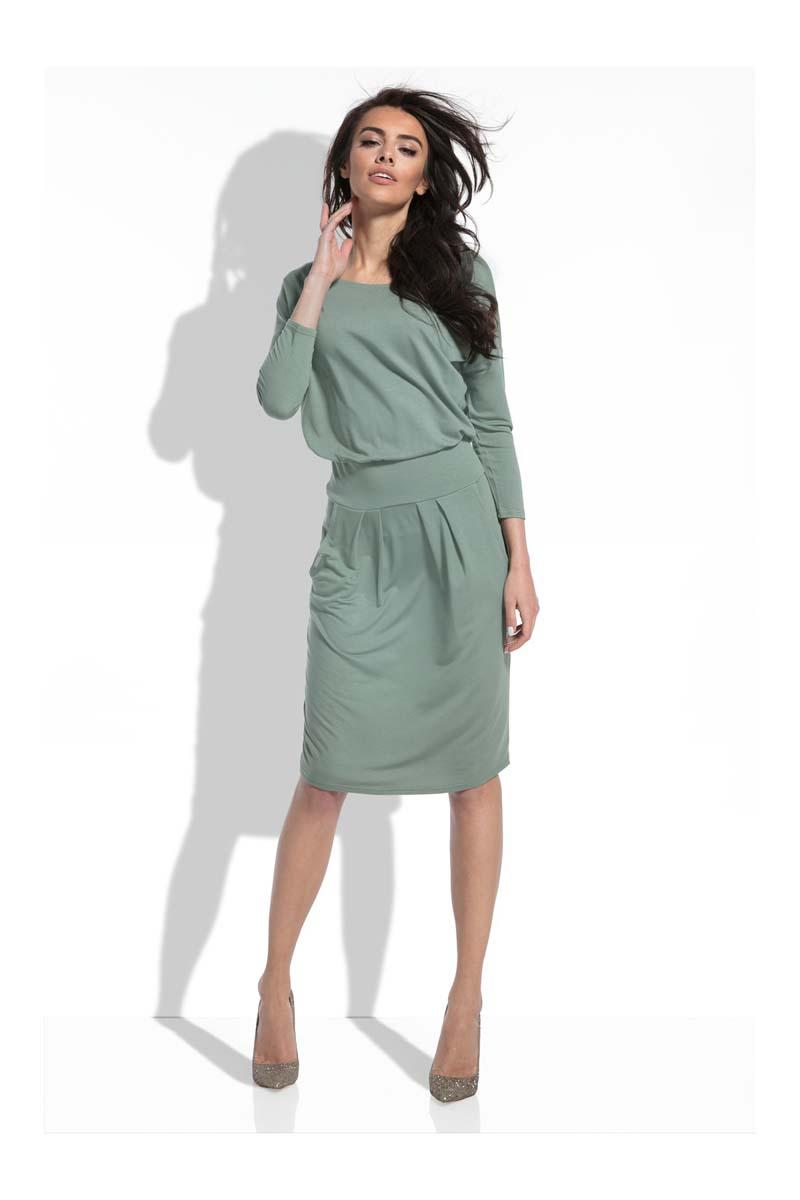 Olive Green Casual Dress with Slim Waist
