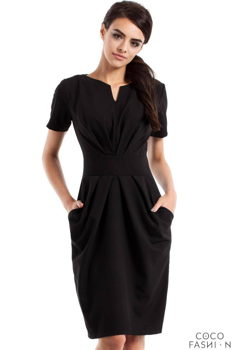Black Wrinkled Slim Waist Knee Length Dress