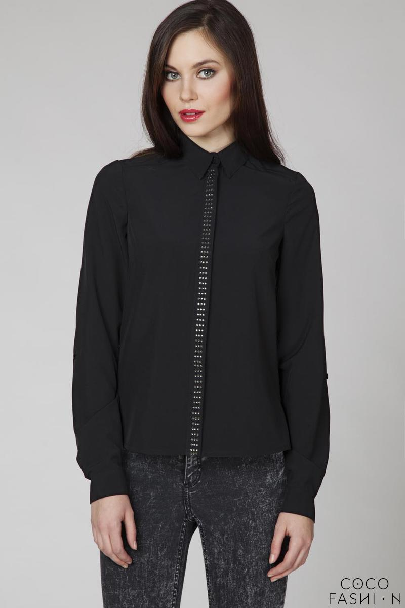 Black Classic Long Sleeves Decorative Shirt