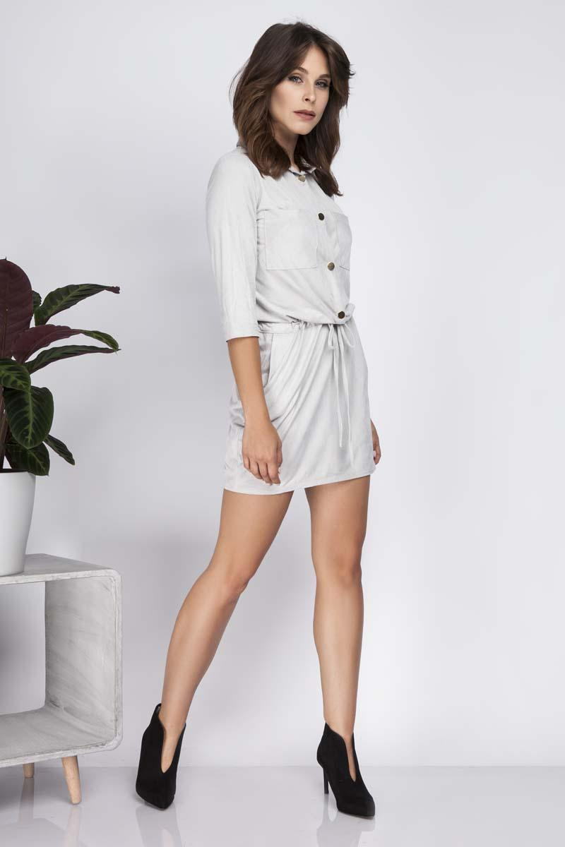 Grey Snaps Closure Shirt Dress