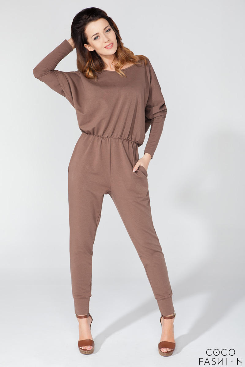Brown Bat Sleeves Tapered Legs Jumpsuit