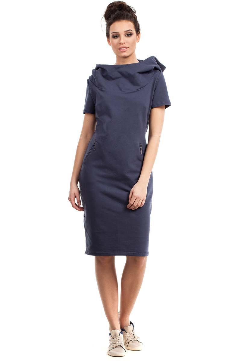 Blue Sport Style Hooded Midi Dress