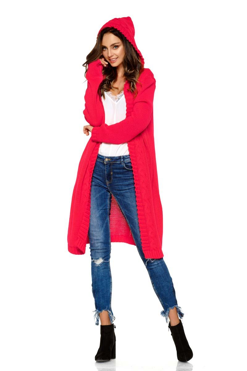 Raspberry Pink Hooded Long Cardigan
