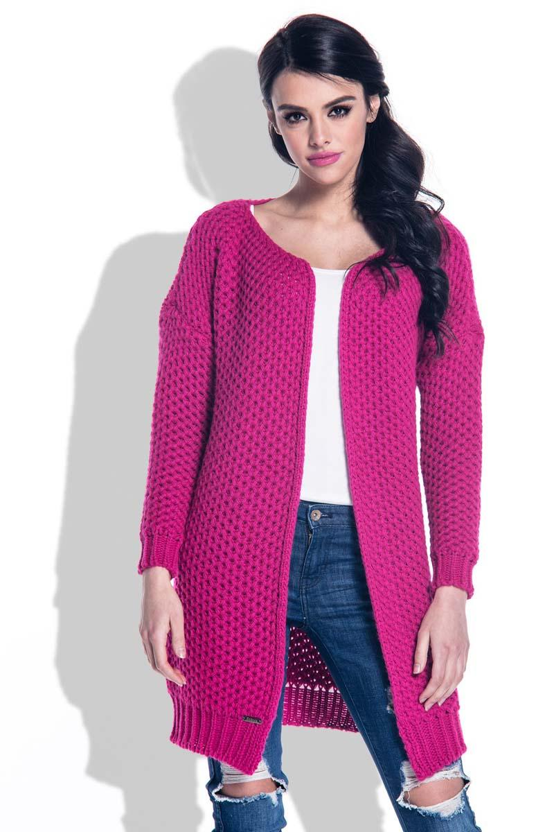 fuchsia-reglan-sleeves-open-cardigan