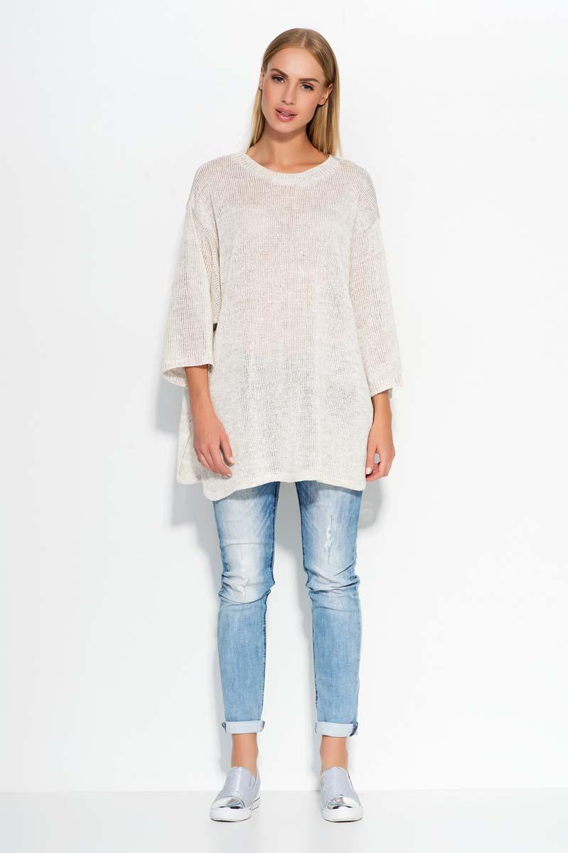 Beige Oversized 3/4 Sleeves Sweater