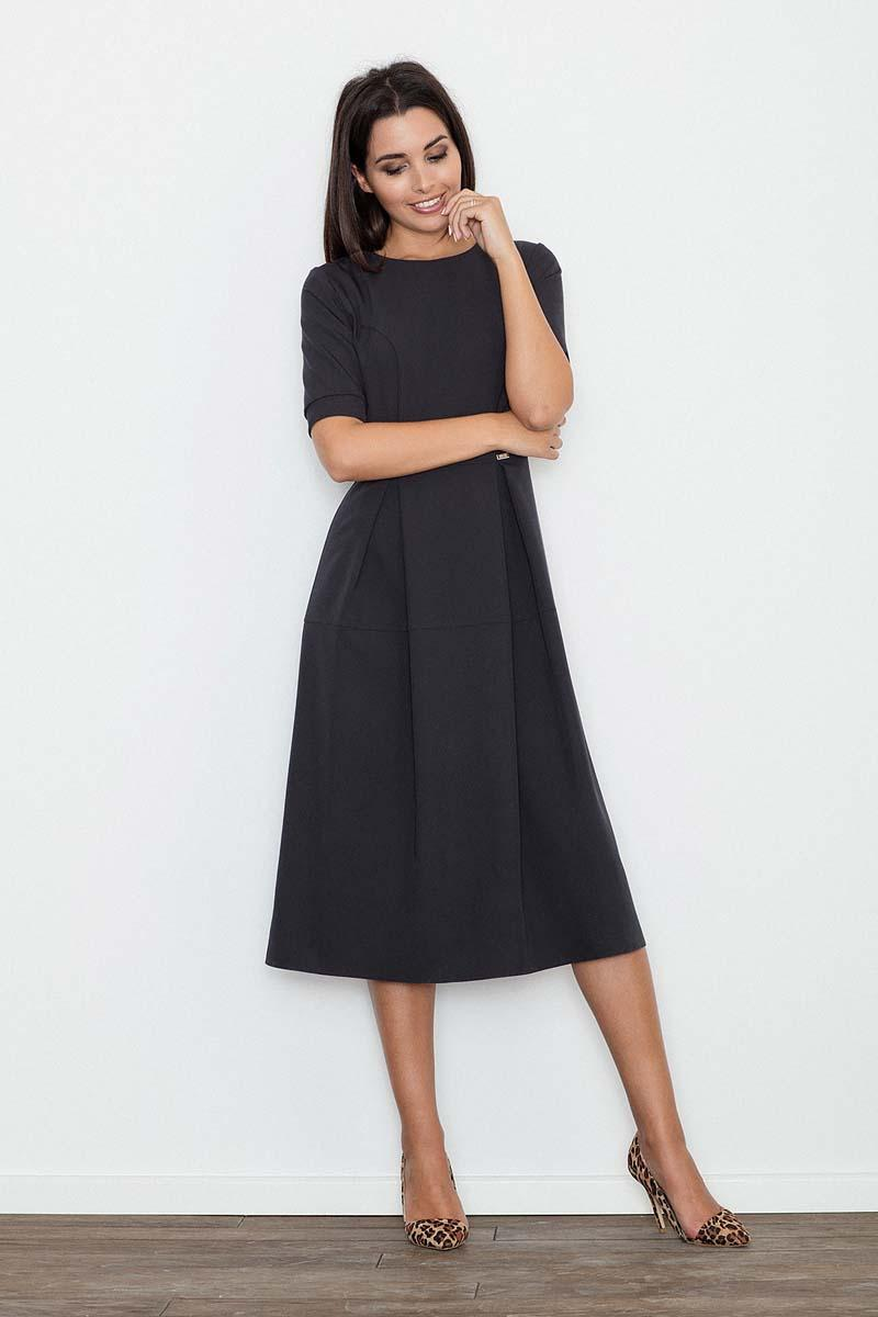 Black Elegant Short Sleeves Midi Dress
