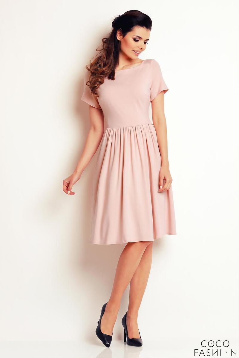 light-pink-short-sleeves-knee-length-dress