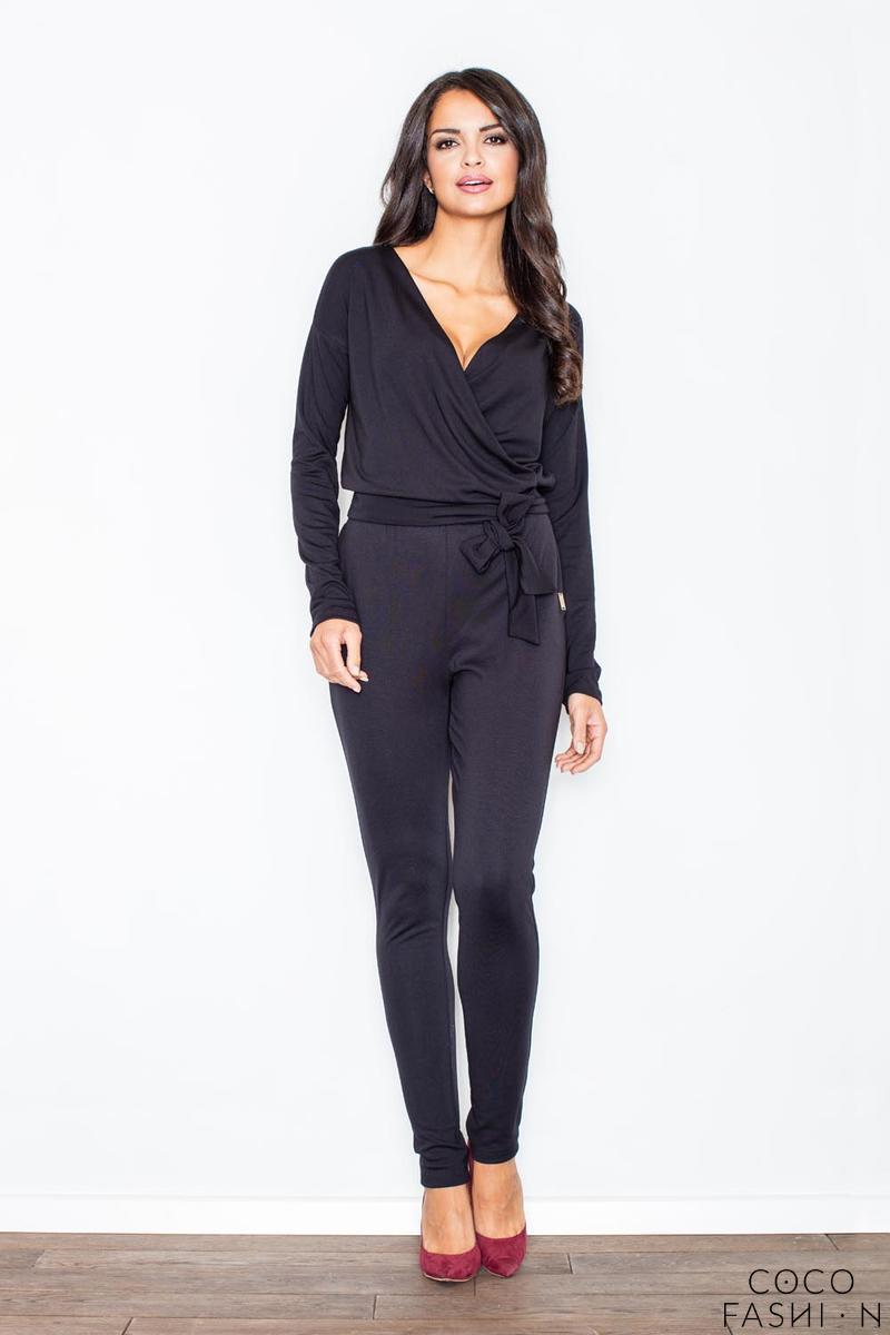 black-stylish-ladies-belted-jumpsuit