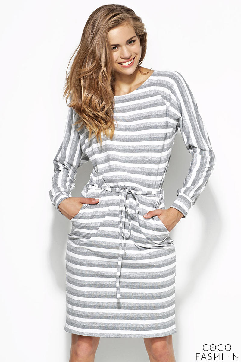 319b78c64840 Grey and White Striped Shirt Dress with Draw String Waist