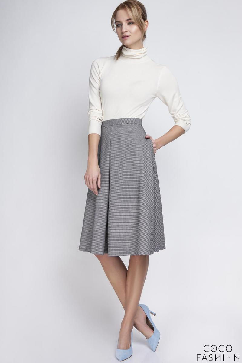 Houndstooth Retro Style Midi Lenght Skirt with Double Fold