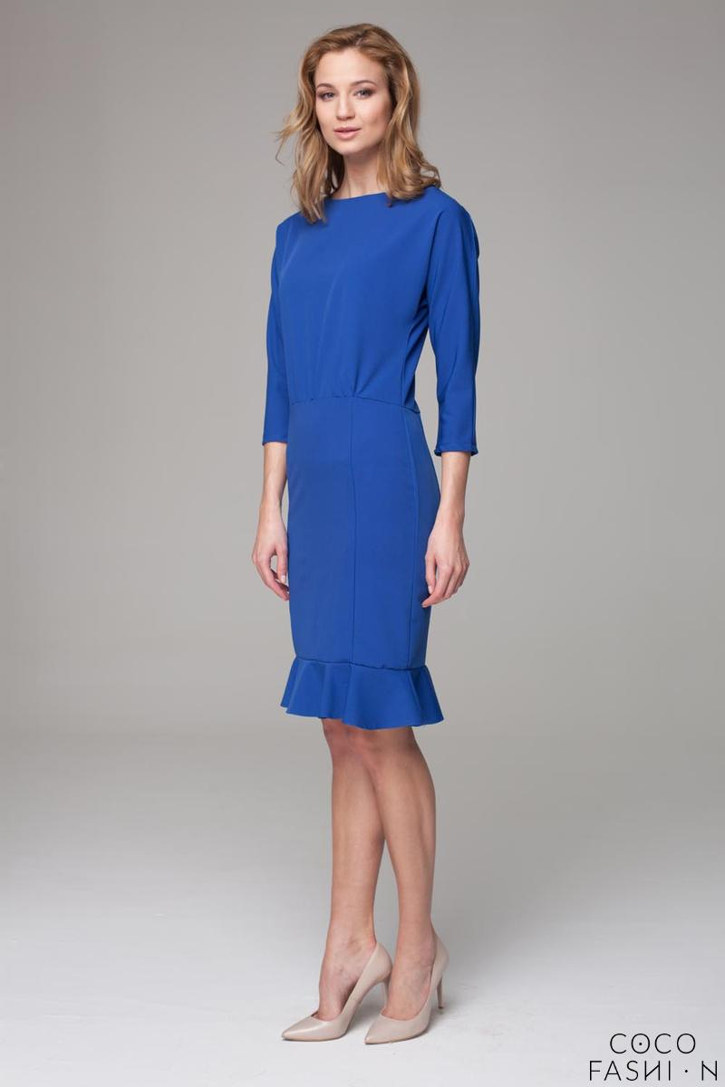 Blue 3/4 Sleeves Frilled Midi Dress