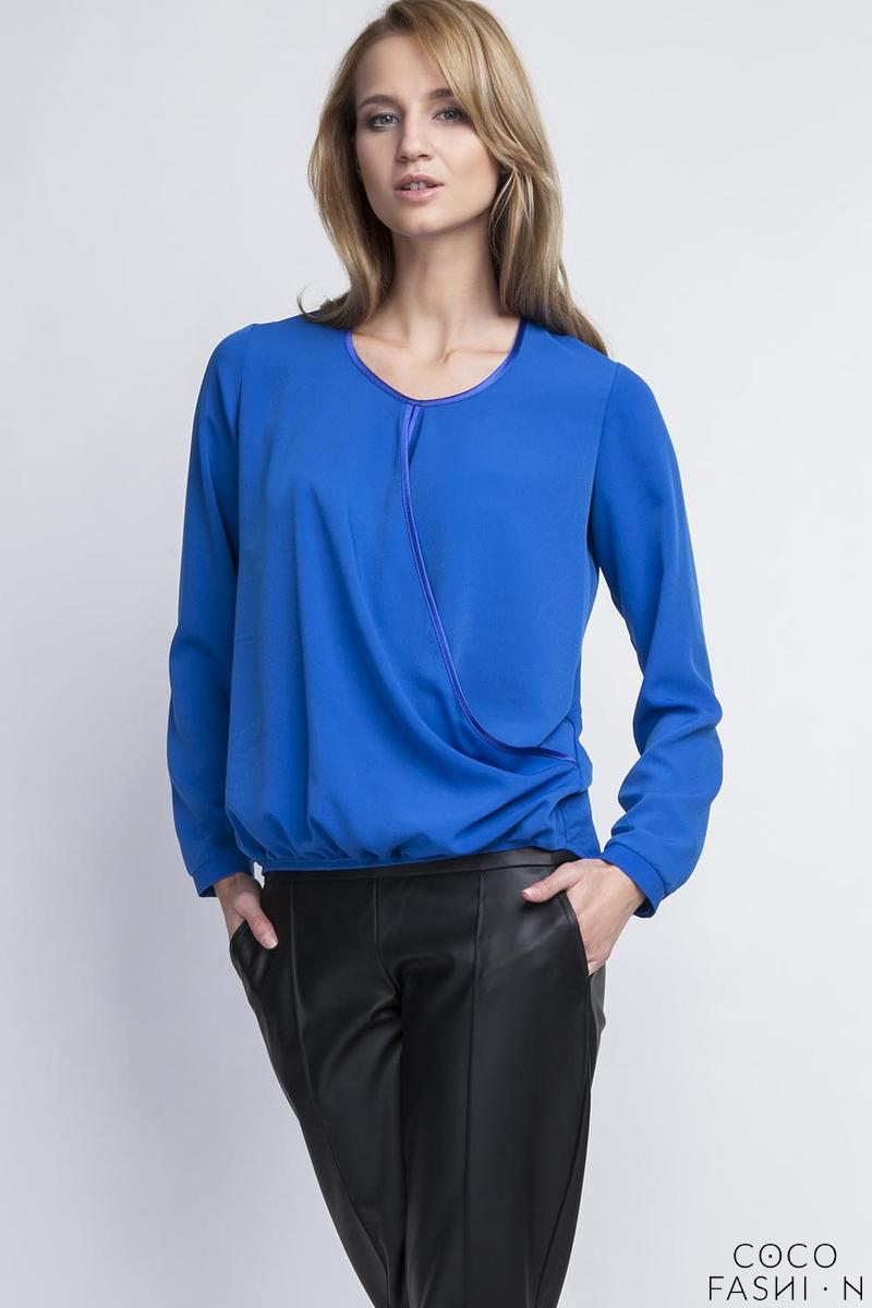 Indigo Blue Elegant Wrap Front Long Sleeves Blouse