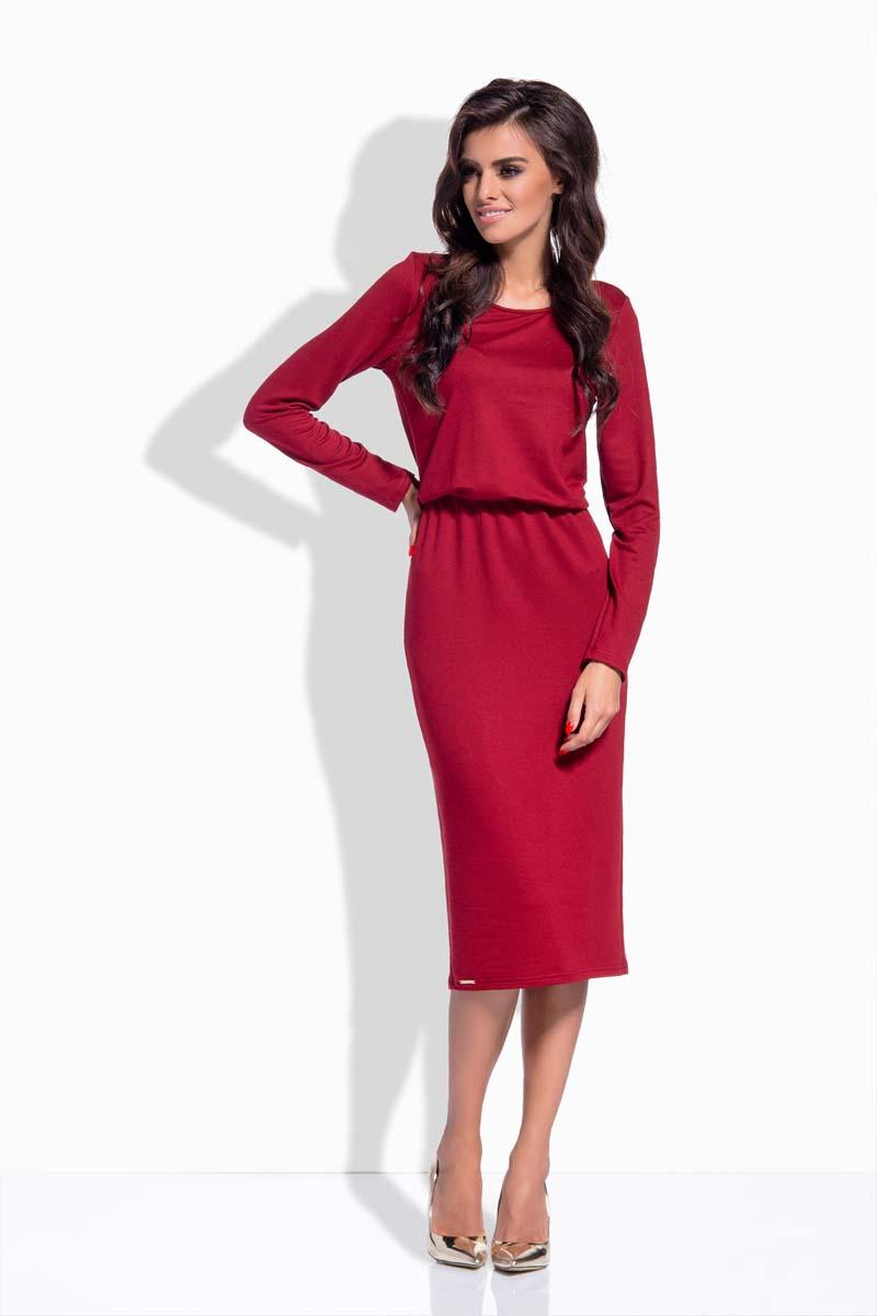 Maroon Elastic Waist Pencil Dress