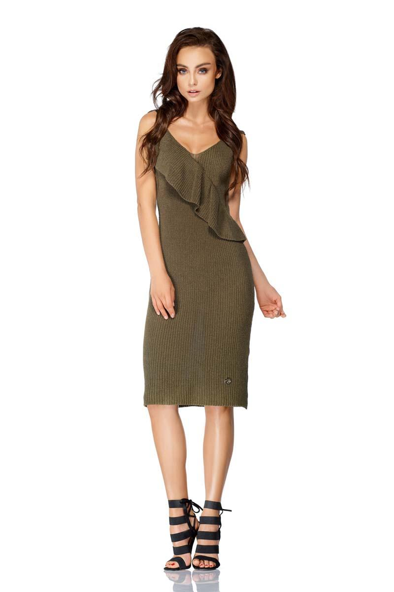 Khaki Sweater Dress on Thin Straps