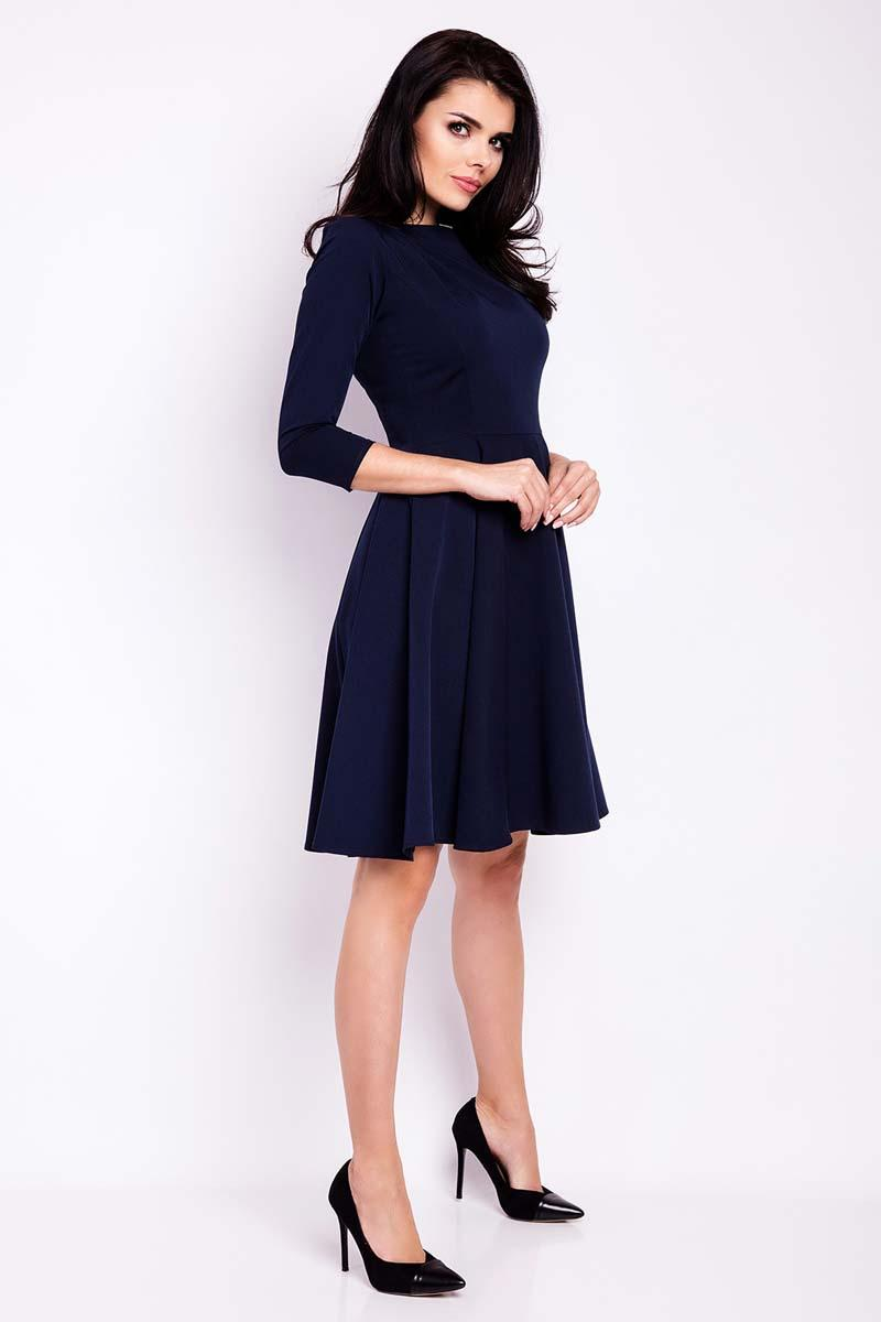 Dark Blue Knee Length Dresses