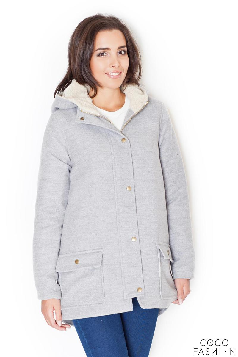 Grey Winter Hooded Snaps Closure Parka Jacket