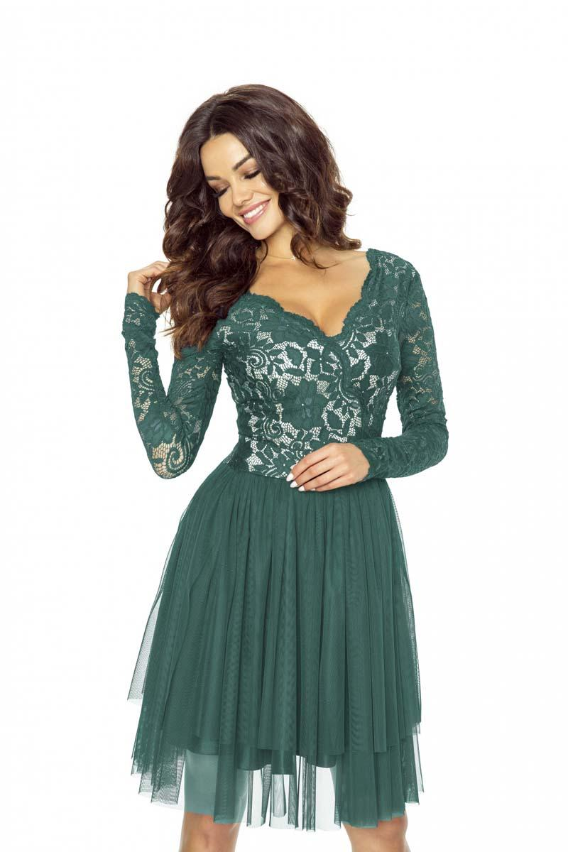 Bottle Green Evening Dress with Lace Top and Tulle Skirt