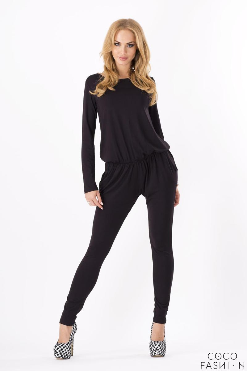Black Comfortable Wrinkled Long Sleeves Jumpsuit