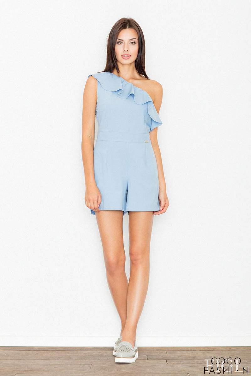 Blue Asymetrical Frilled Summer Jumpsuit