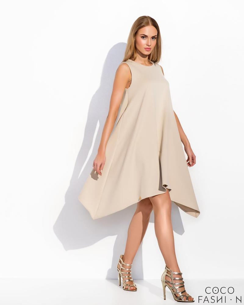 Cream Sleeveless Asymetrical Cut Chic Dress от cocofashion