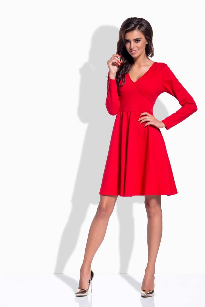red-v-neckline-flared-dress