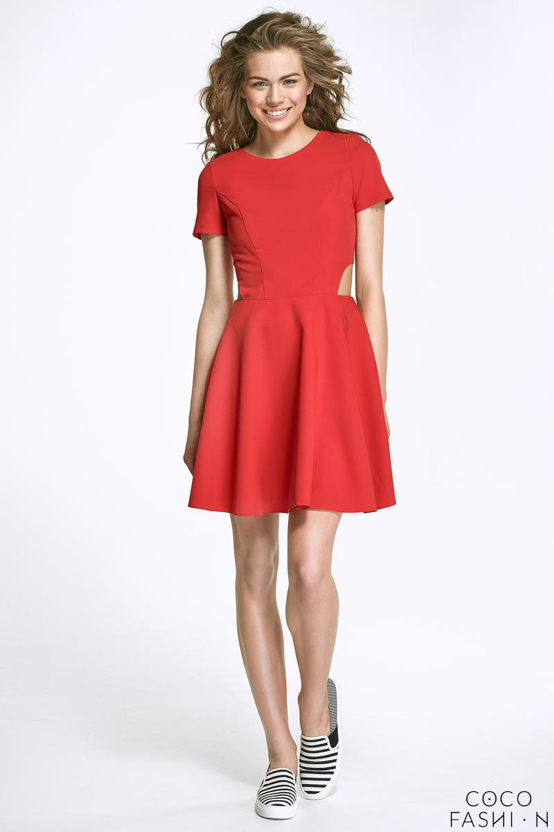 Red Flared Mini Dress with Cut out Sides