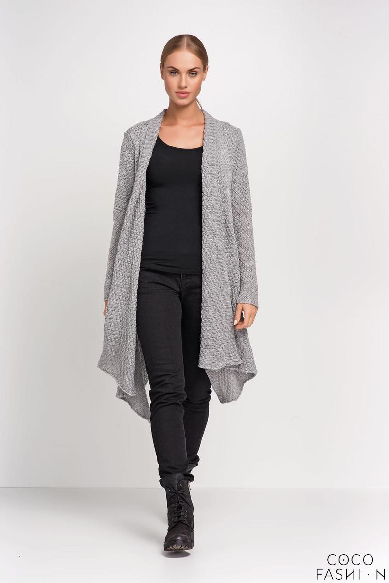 Grey Long Cardigan with Asymmetrical Lapels