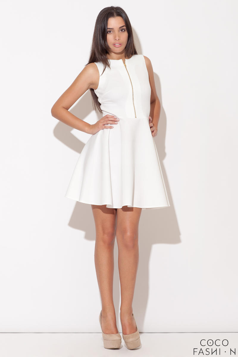 Ecru Light Hearted Sleeveless Flare Date Dress