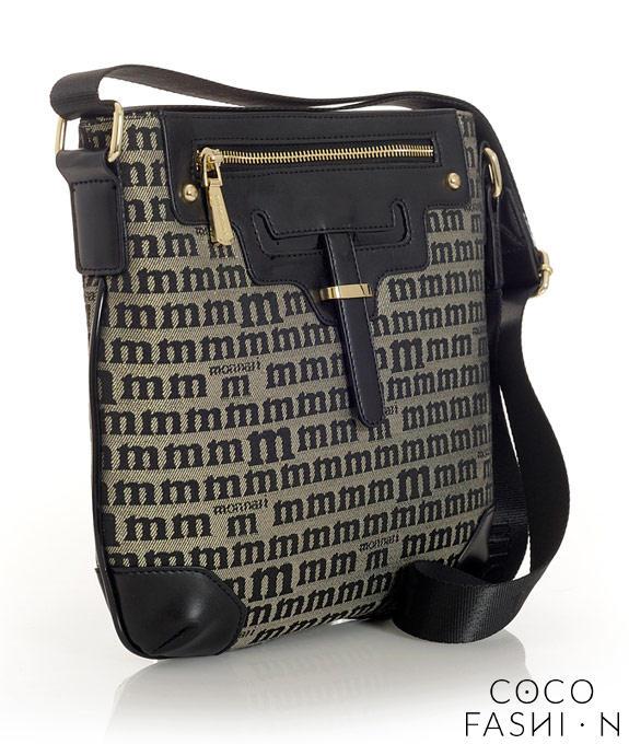 Black Shoulder Bag with Logo Pattern от cocofashion