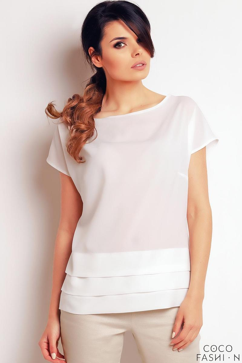 Ecru Classic Short Sleeves Blouse
