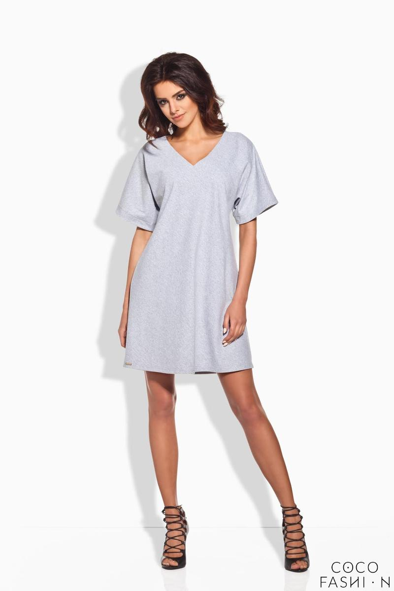 Light Grey Relaxed Fit Short SLeeves Mini Dress