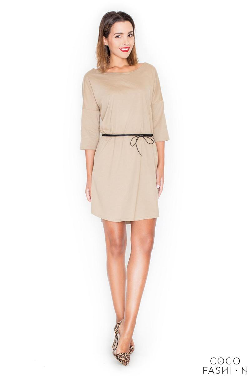 Beige Casual Comfy 3/4 Sleeves Mini Dress with Belt