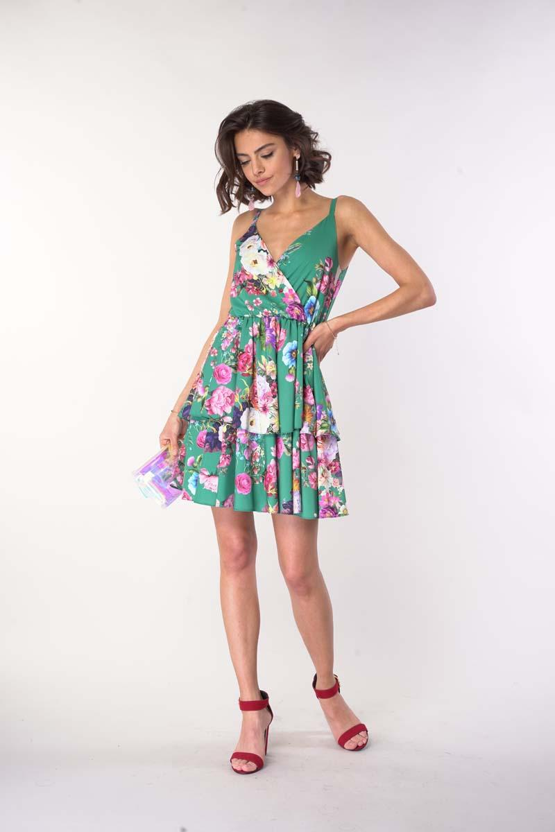 Dress with straps with a neckline - Green