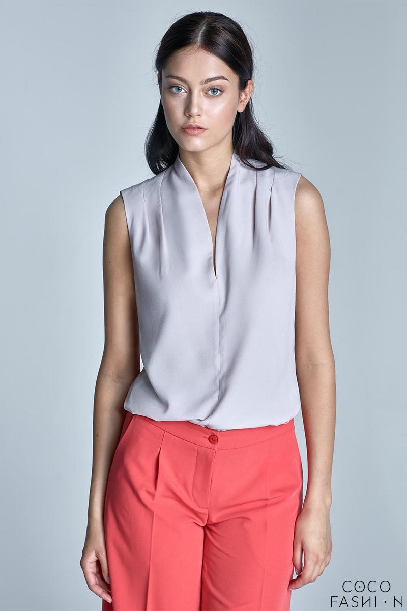 Beige Sleeveless Stand-up Collar Wrinkled Blouse