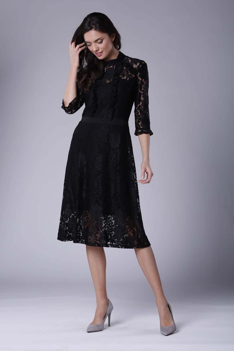 Black Slim Waist Lace Dress
