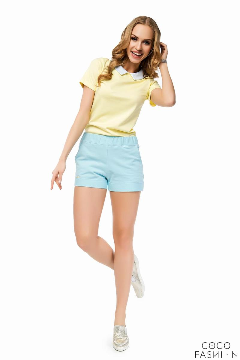 Light Blue Elastic High Waist Summer Collection Ladies Shorts