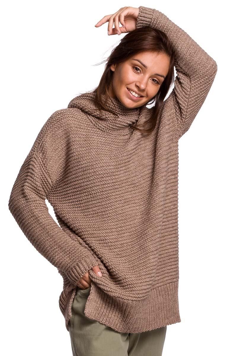 Women's Oversize Turtleneck Sweater - Cappuccino