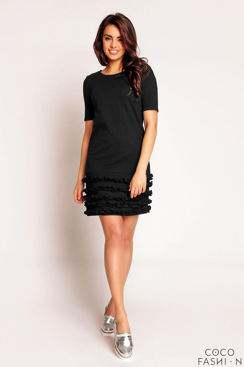 Black Little Frills on the Hem Short Dress