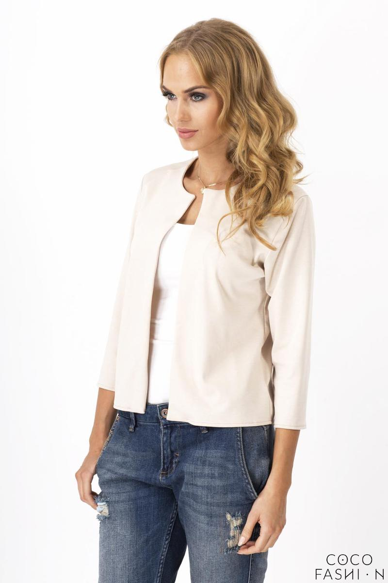 Cream Casual Round Neck 3/4 Sleeves Short  Blazer