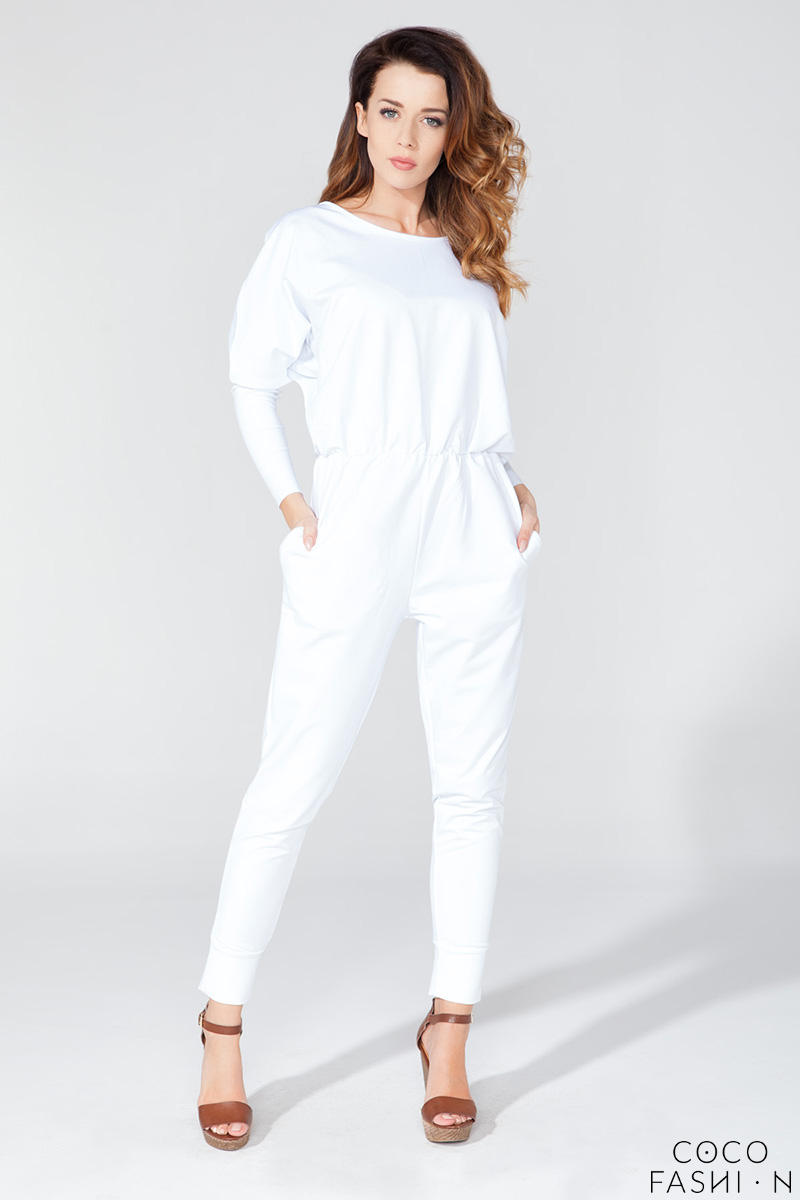 White Bat Sleeves Tapered Legs Jumpsuit