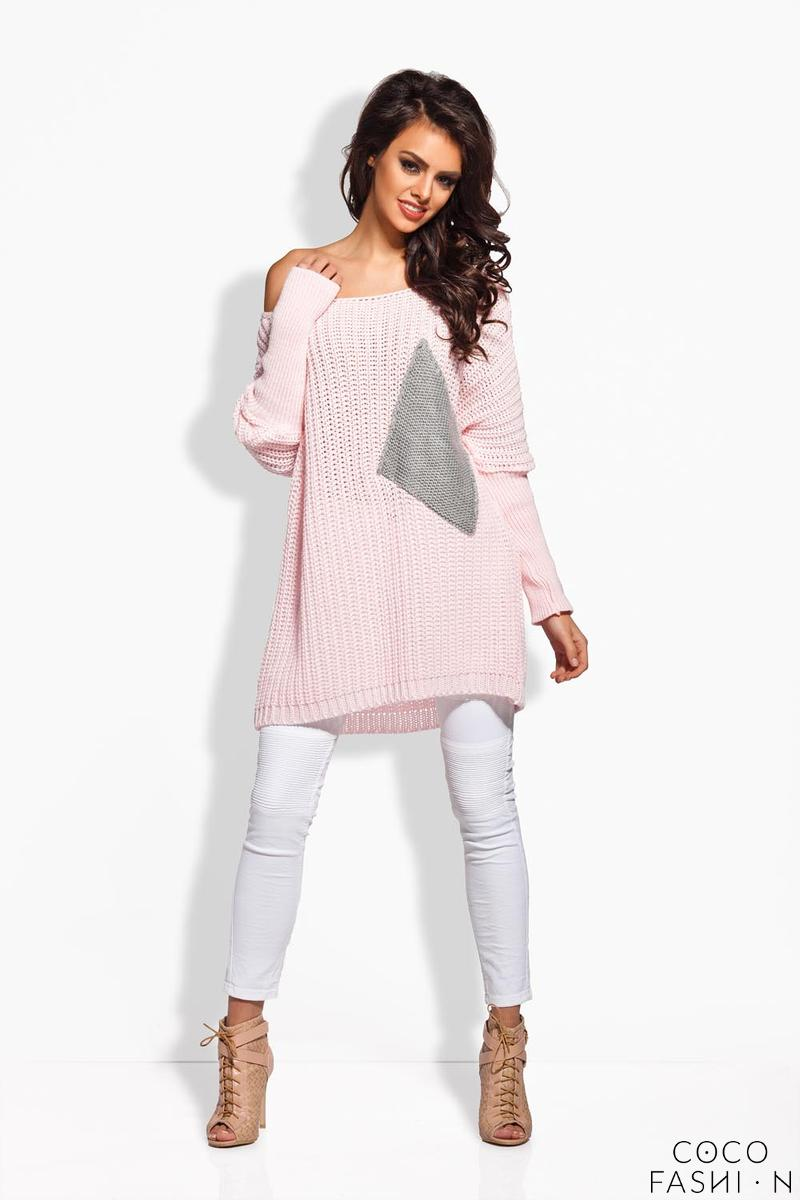Pink Oversized Sweater with Big Chest Pocket