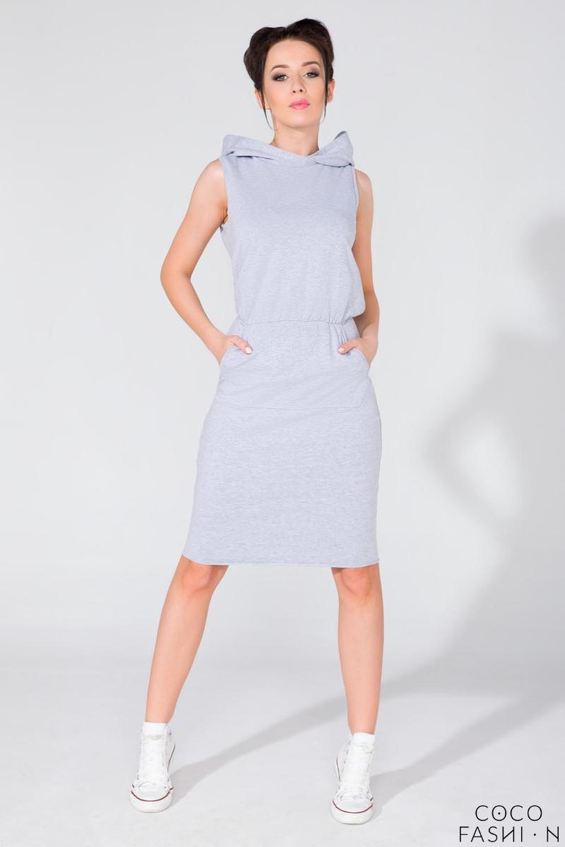 Light Grey Hooded Sport Style Knee Length Dress