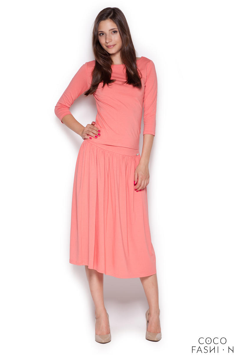 Pink Stylish Set 3/4 Sleeves Blouse+Midi Skirt