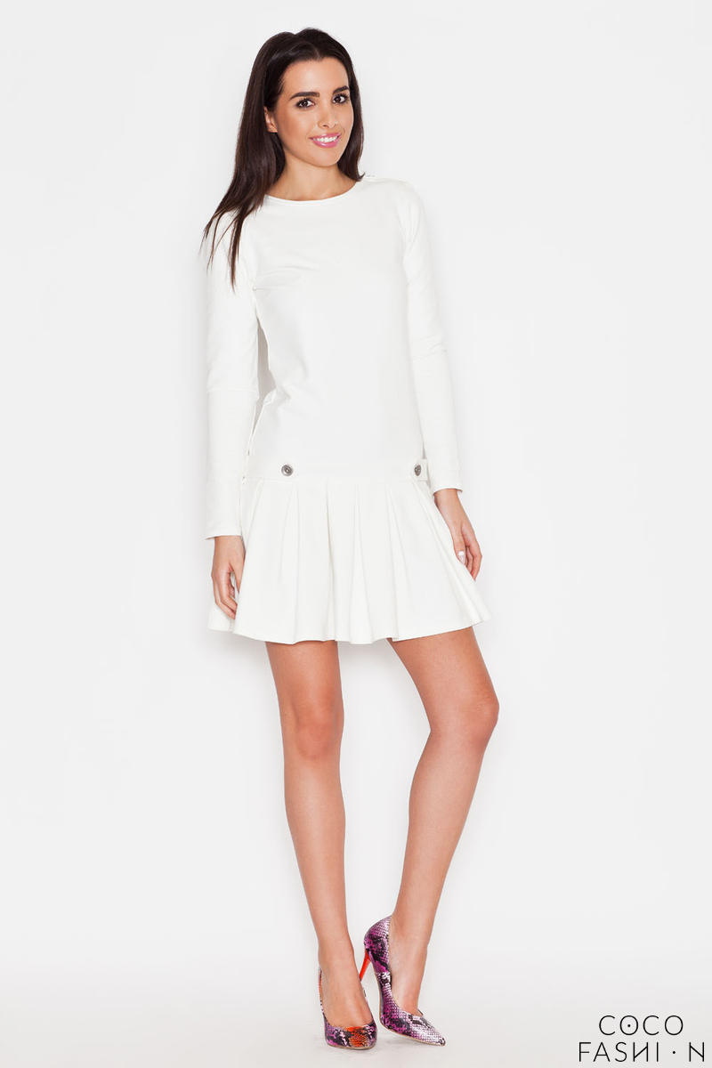 Ecru Casual Long Sleeves Pleated Mini Dress